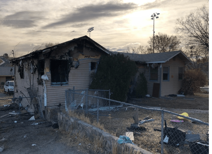 House fire at the corner of Verde and Center Street. (Photo courtesy City of Victorville)