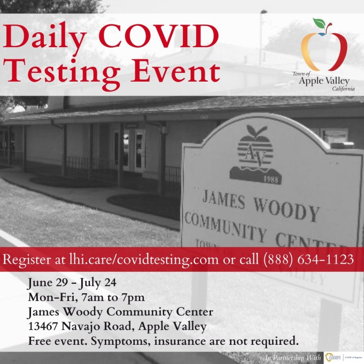 town of apple valley daily covid testing
