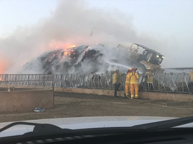 San Bernardino County Firefighters responded to a hay fire in the community of Hinkley. (Photo courtesy SBCoFD//Twitter)