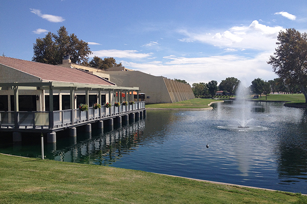 A view of the club house and lake.