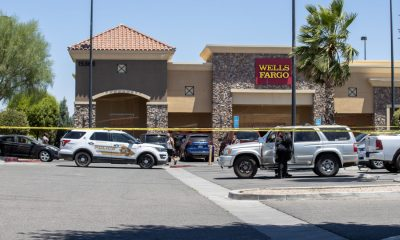 A man was found deceased inside a silver Toyota 4Runner in the Wells Fargo parking lot on Monday. (Gabriel D. Espinoza, VVNG.com)