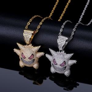 Men's Copper Hip Hop CZ Funny Gremlin Necklace