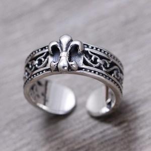 Men's Sterling Silver Fleur De Lis Cuff Ring