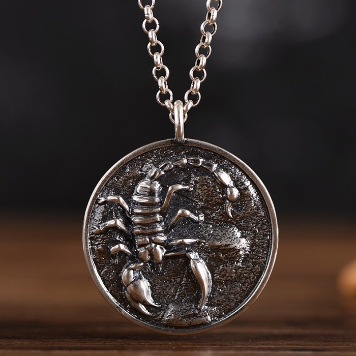 cd1023c378ce3 Men's Sterling Silver Scorpion Disc Pendant Necklace