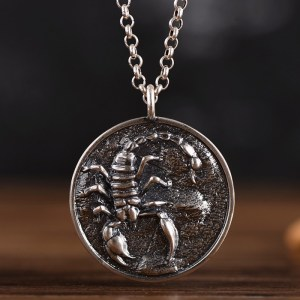 Men's Sterling Silver Scorpion Disc Pendant Necklace