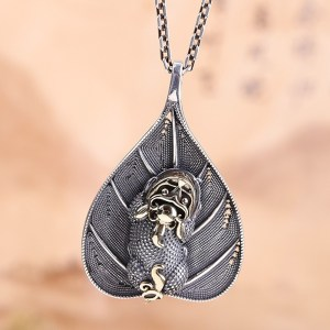 Sterling Silver Monster Leaf Pendant Necklace