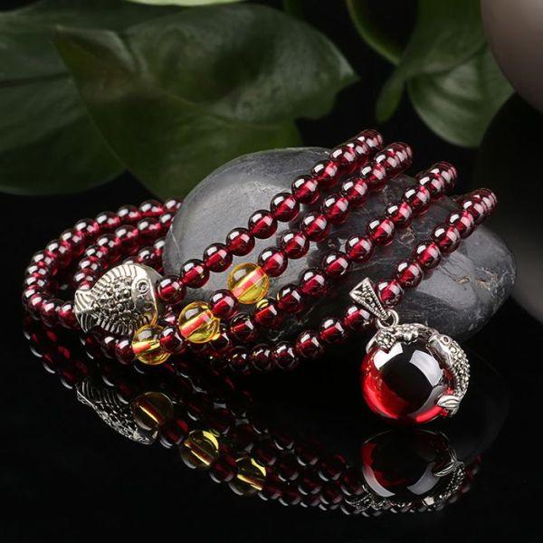 Garnet Citrine Multi Layered Beaded Bracelet
