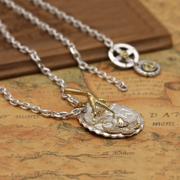 Sterling Silver Eagle & Claw Pendant Necklace