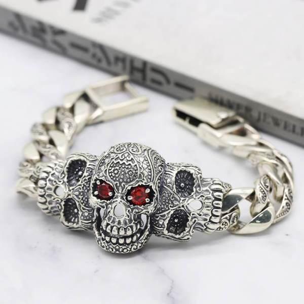 Evil Eye Skull Cuban Link Bracelet