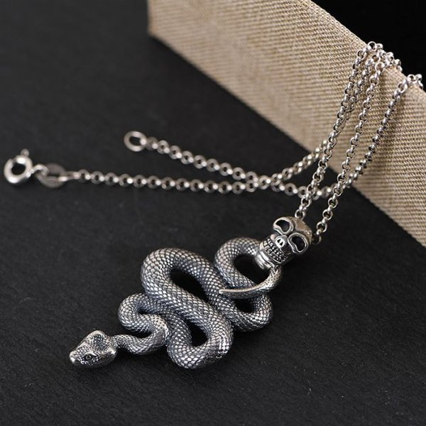 Sterling Silver Snake Pendant Necklace