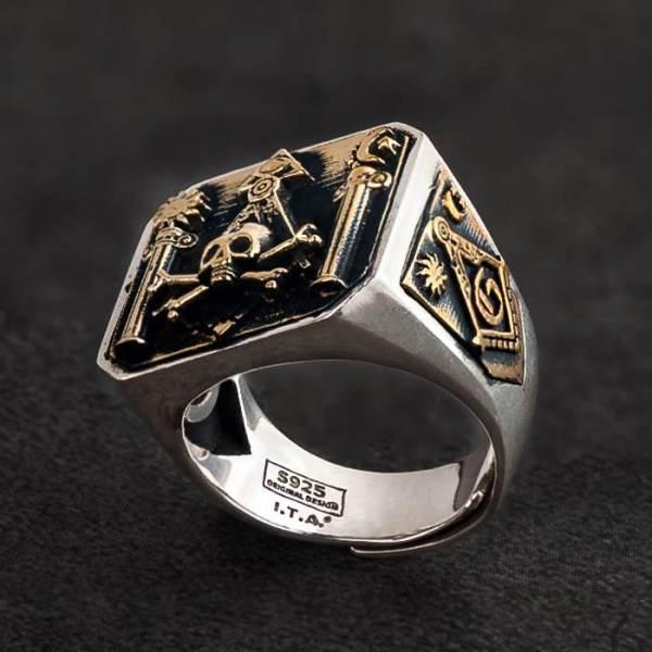 Masonic Skull & Crossbones Ring For Men
