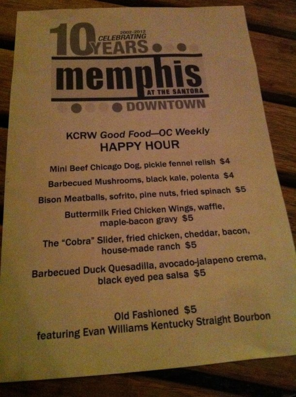 OC Weekly/KCRW Good Food Happy Hour:  Memphis at the Santora