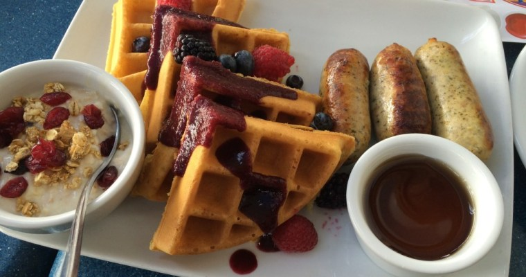 Fresh Berry Belgian Waffles at Ariel's Grotto