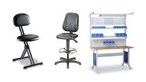Werkstoelen en montagetafels