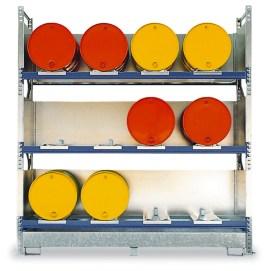 206329 Stelling Voor Gevaarlijke Stoffen,  v. 12x200l vat liggend