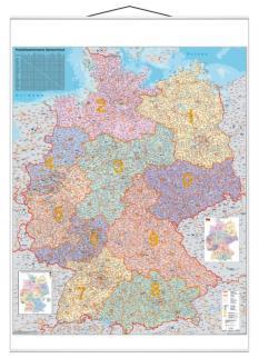 521856 Postcodekaart Duitsland,  HxB 1380x980mm