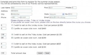 A Web-based input form for users to register for a cruise.