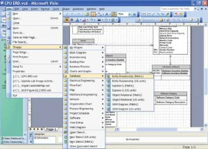 Example of nested pull-down menus with shortcut keys from Microsoft Visio Professional.