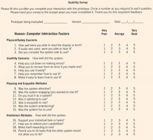 A form may be used to survey users of prototypes on key usability and ergonomic factors.