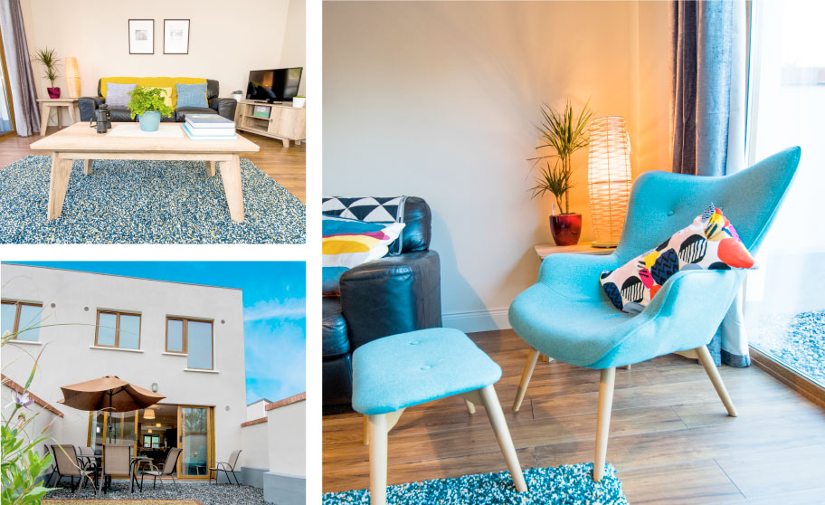 W8 Village Holiday Homes at W8 Centre, lounge and backyard, Osta restaurant, culture and innovation - Manorhamilton, Ireland.