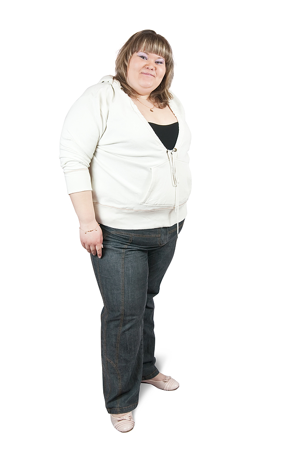Obese woman with central weight gain