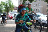Teaching kids to ride bikes