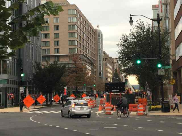 M St. Protected Bikeway and New Hampshire St. NW - two Blocks from 20th St. NW closure