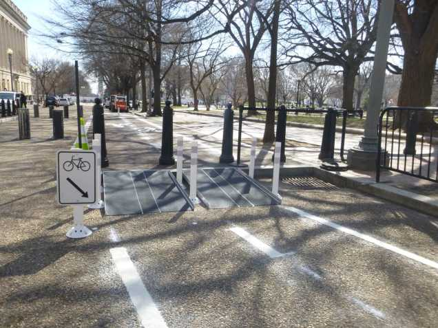 Ramparoo! New Paint and ramps make it easier to bike through Lafayette Park on segment of the 15th Street protected bike lane.