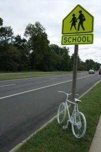 Ghost bike in honor of Natasha Pettigrew.