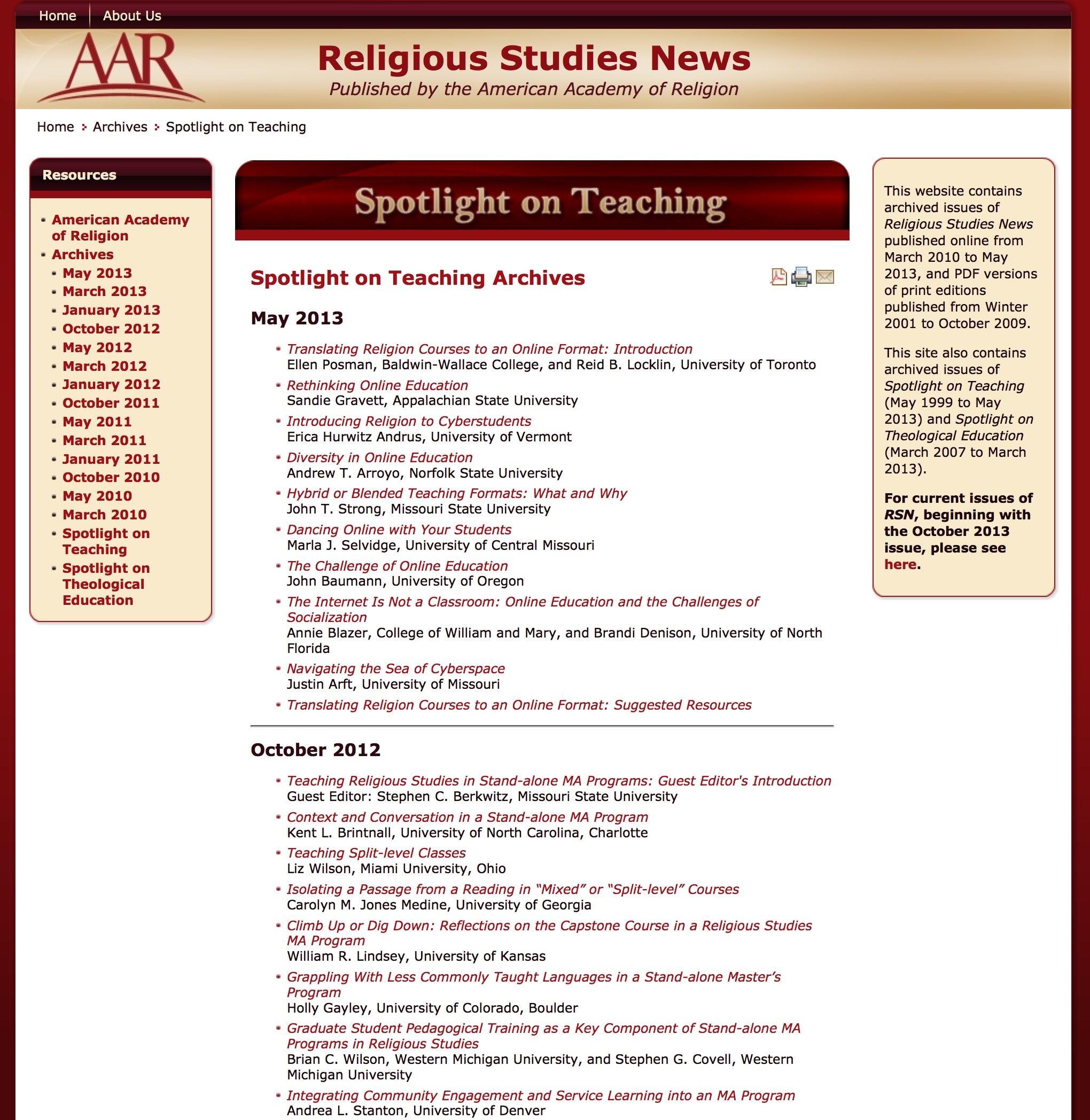 Teaching Religion Archives Wabash Center