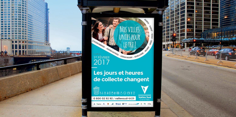 Vallée Sud Grand Paris, affiche abribus- Agence Wacan