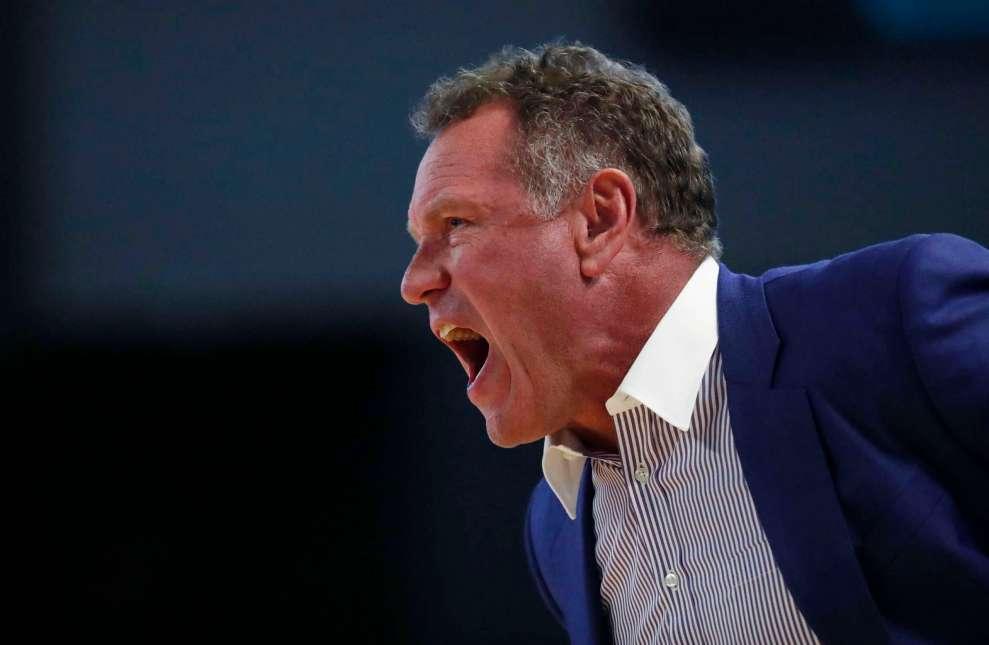Grand Canyon head coach Dan Majerle yells at his players.