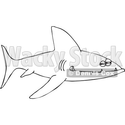 Clipart Outlined Sinister Shark With Sharp Teeth Royalty