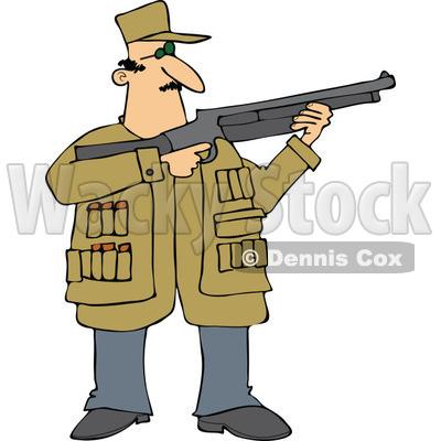 cartoon of a hunting man using a shotgun royalty free vector clipart