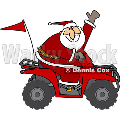 Clipart Of Santa Waving And Driving An Atv Mud Bug