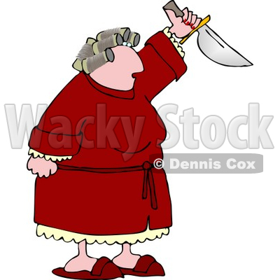 Angry Woman with PMS Preparing to Kill Someone with a Knife Clipart © djart #4985