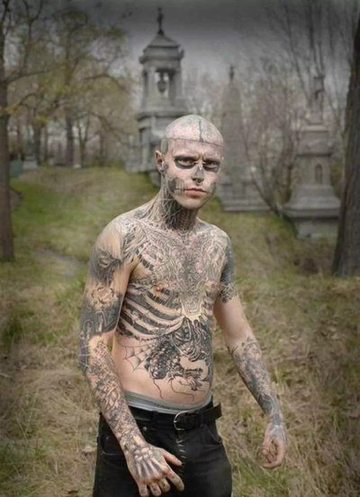 Zombie Boy Rick Genest : Full Body Covered With Tattoo-17