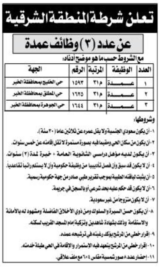 وظائف عمدة أحياء في شرطة الشرقية - الخبر