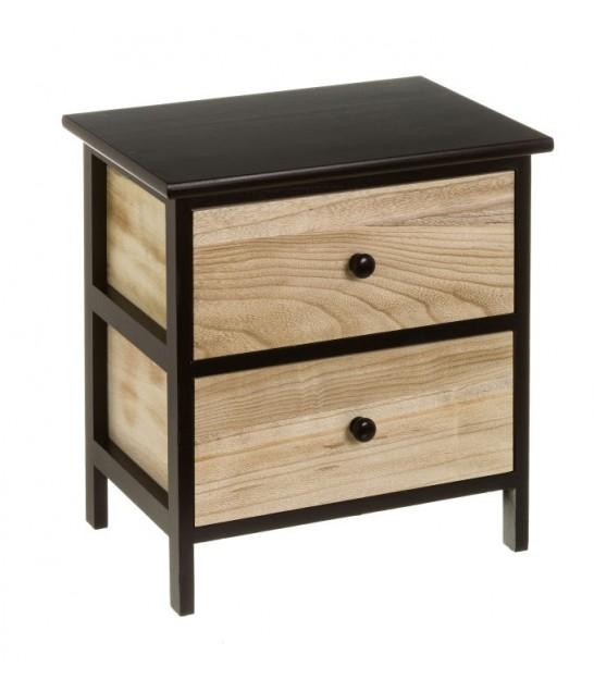 table de chevet 2 tiroirs bois et noir