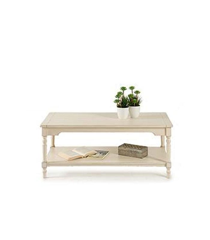 table basse en bois blanc vieilli 2