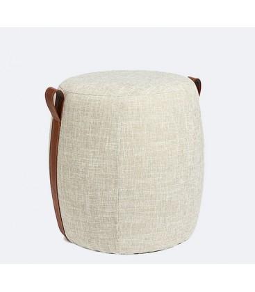 pouf rond gris clair en laine bouillie