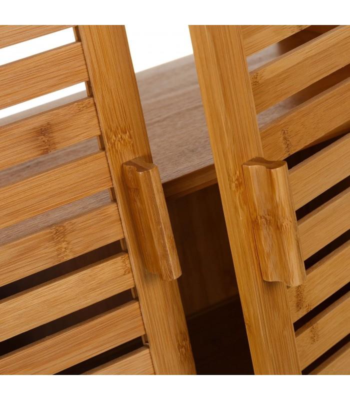 Meuble Salle De Bain Sous Lavabo Vasque En Bambou 2 Portes Wadiga Com