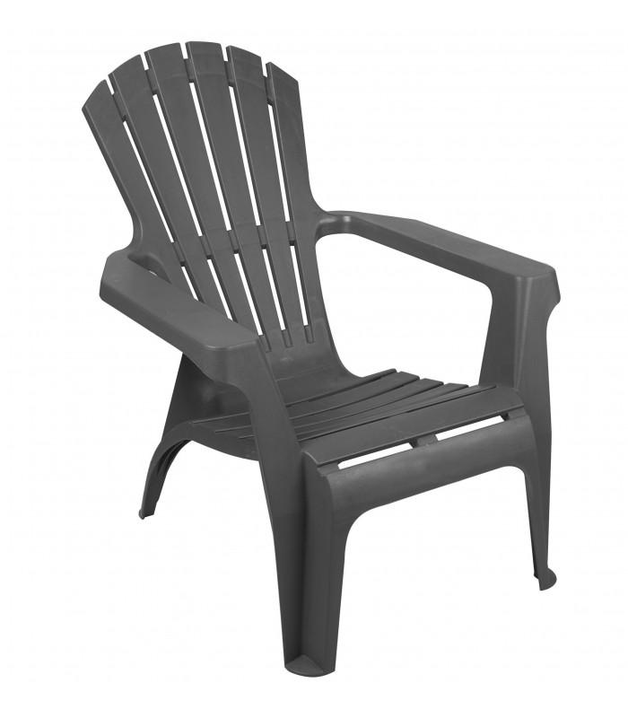 fauteuil de jardin confortable en polypropylene gris anthracite