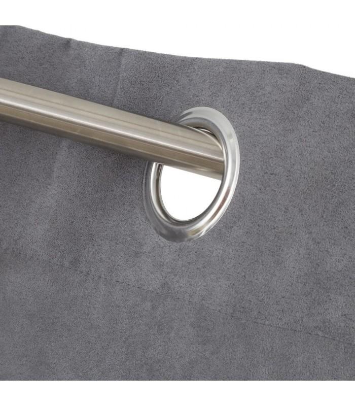 rideau opaque a oeillets velours gris