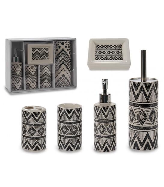 set salle de bain ceramique noir et blanc motifs ethniques 5 pieces