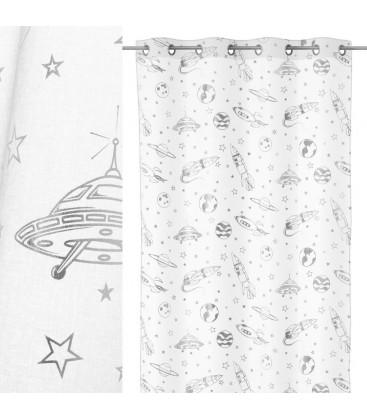 voilage a œillets blanc motif univers chambre enfant longueur 260cm