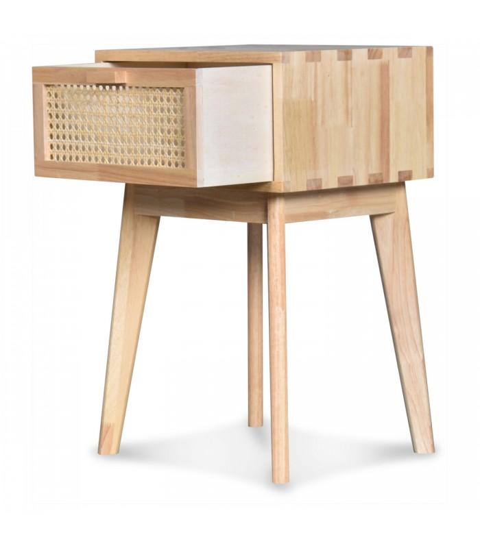 table de chevet bois 1 tiroir cannage rotin