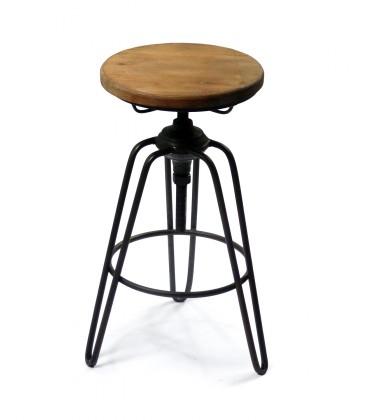 tabouret de bar style tabouret d usine en metal noir et bois
