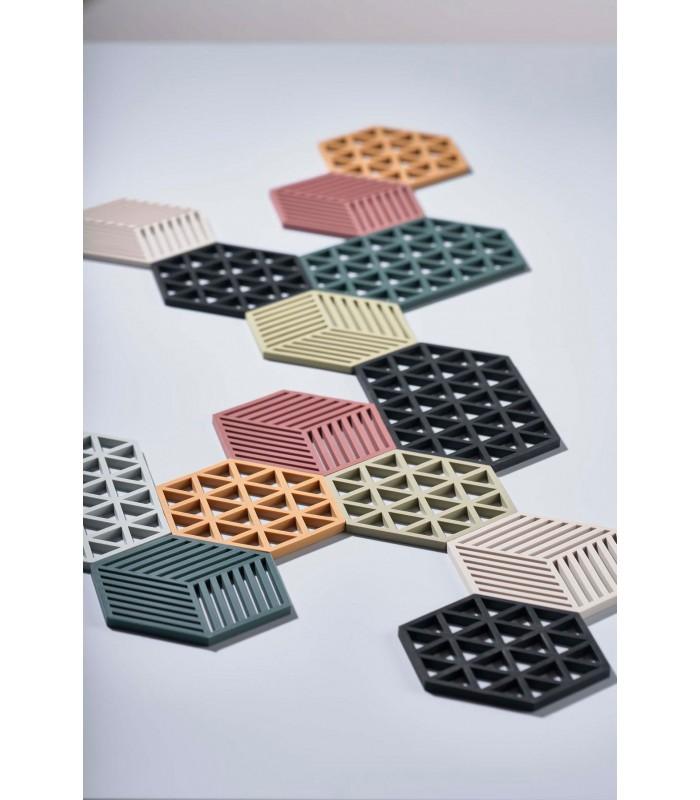 plat design hexagone silicone noir
