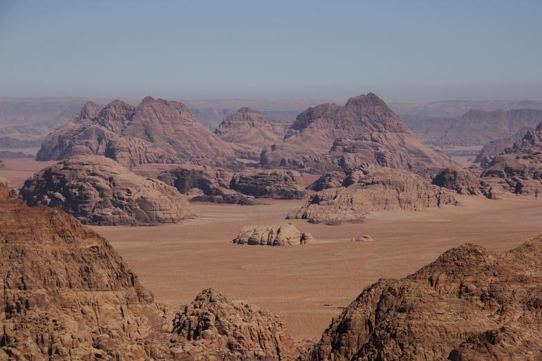 Desert view from Jebel Al Hash, Wadi Rum, Jordan.